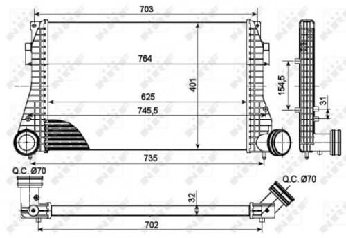 NRF Intercooler, inlaatluchtkoeler (30290) NRF (30290)