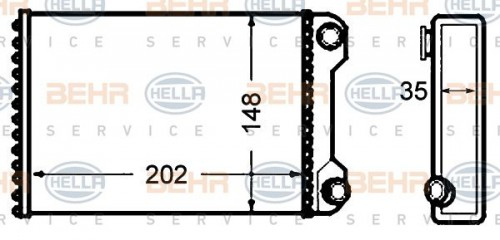 HELLA Kachelradiateur, interieurverwarming (8FH 351 308-241) HELLA (8FH 351 308-241)
