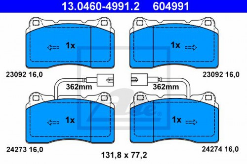 ATE Remblokken set (13.0460-4991.2) ATE (13.0460-4991.2)